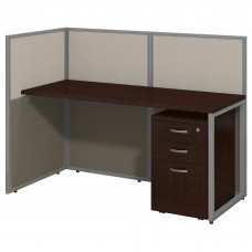 Bush Business Furniture Easy Office 60W Straight Desk Open Office with Mobile File Cabinet