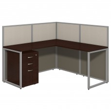 Bush Business Furniture Easy Office 60W L Shaped Desk Open Office with Mobile File Cabinet