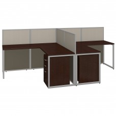 Bush Business Furniture Easy Office 60W Two Person L Shaped Desk Open Office with Mobile File Cabinets