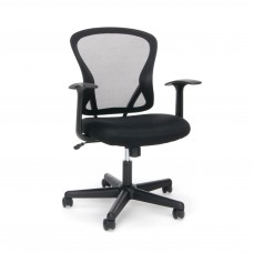 OFM Essentials Collection ESS-3011 Swivel Mesh Back Task Chair with Arms, Mid Back, Black