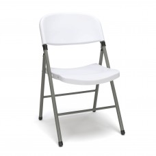 OFM Essentials Collection ESS-5000 Plastic Folding Chair, White, Pack of 4