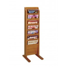 Free Standing Magazine Rack - 7 Pockets - Cascade - Specify Wood Finish