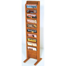 Free Standing Magazine Rack - 10 Pockets - Cascade - Specify Wood Finish