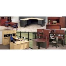 Desk Wood High Point Hyperwork Series 72X36 Double Pedestal Straight Front Desk Chrome Pulls - Select Top Color - Select Base Color