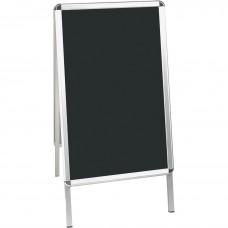 Bi-silque Wet Erase Display Board, 1-7/10 X 24 X 47 in, Aluminum Frame, Black
