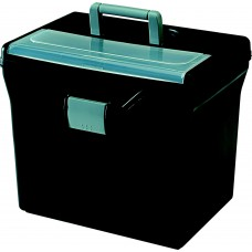 File Box Portable Letter Size W/ Organizer Lid Blk/Clear