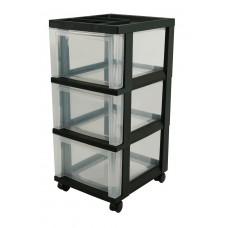 Storage Cart 3 Drawer Organizer Top Medium 12X14X26 Blk/Clr