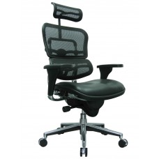 Task Chair Ergohuman High Back With Leather Seat And Mesh Back/Headrest Black