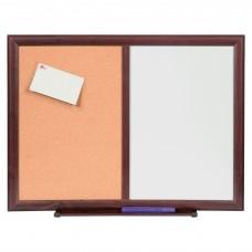 Board Combo Dry-Erase/Bulletin Mahogany Llr84171