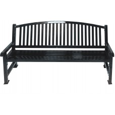 4 Foot Savannah Bench - With Bow Back - Black