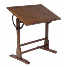 Vintage Drafting Table In Rustic Oak