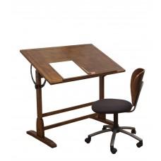 42In Vintage Drafting Table In Rustic Oak