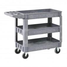 Utility Cart 3 Shelf Plastic 40W X 17D X 33H Gray