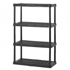 Plastic Shelving 36''W X 18''D X 56''H 4 Shelves 150 Lb Shelf Capacity Black