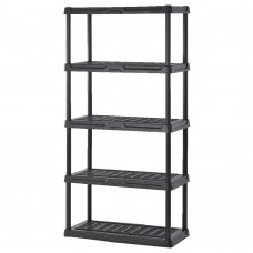 Plastic Shelving 36''W X 24''D X 72''H 5 Shelves 200 Lb Shelf Capacity Black