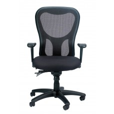 Task Chair Apollo Executive Mesh/Fabric Synchro-Tilt Backrest With Adjustable Arms Black