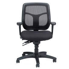 Task Chair Mesh/Fabric Synchro-Tilt Backrest With Adjustable Arms Black
