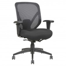 Task Chair Mid Back With Mesh Back Black Base Black Fabric