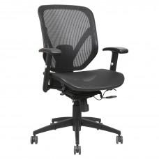 Task Chair Mid-Back Fabric Seat Mesh Back Black