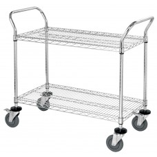 Two Shelf Wire Utility Cart 39 Tall 18X36X39- Select Finish
