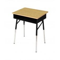 Desk Open Front 9500 18X24X22-29 Adj - Bannister Oak Lam Top- Black Frame