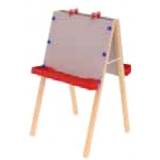Art Easel Early Learning - Double Adjustable Height - 2 Chalkboards Supply Trays And Clips 24W X 24D X 40-46H -Specify Color