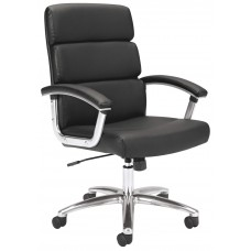 Chair - Executive Mid-Back W/Casters - Leather - Black Seat/Back