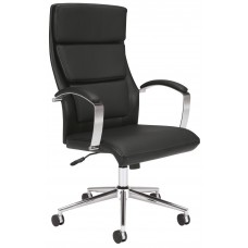 Chair - Executive High-Back W/Casters - Leather - Chrome Frame - Black Seat/Back