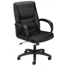 Chair - Executive Mid-Back Pneumatic - Leather - Black Frame - Black Seat/Back