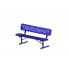 """Bench - 8' Buddy Bench Logo W/Back, 2""""""""X12"""""""" Planks, Diamond - Specify Surface Mount And Color"""