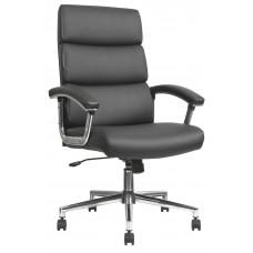 Task Chair High Back Chrome Base Black Leather