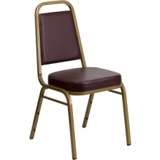 HERCULES Series Trapezoidal Back Stacking Banquet Chair in Brown Vinyl - Gold Frame [FD-BHF-1-ALLGOLD-BN-GG]