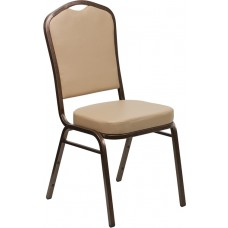 HERCULES Series Crown Back Stacking Banquet Chair in Tan Vinyl - Copper Vein Frame [FD-C01-COPPER-TN-VY-GG]