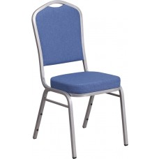 HERCULES Series Crown Back Stacking Banquet Chair in Blue Fabric - Silver Frame [FD-C01-S-7-GG]