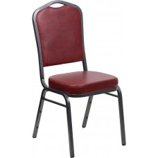 HERCULES Series Crown Back Stacking Banquet Chair in Burgundy Vinyl - Silver Vein Frame [FD-C01-SILVERVEIN-BURG-VY-GG]