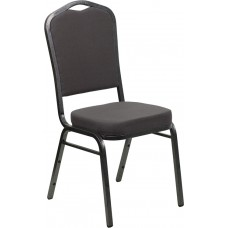 HERCULES Series Crown Back Stacking Banquet Chair in Gray Fabric - Silver Vein Frame [FD-C01-SILVERVEIN-GY-GG]