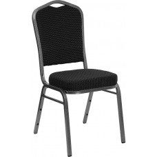 HERCULES Series Crown Back Stacking Banquet Chair in Black Dot Patterned Fabric - Silver Vein Frame [FD-C01-SILVERVEIN-S076-GG]