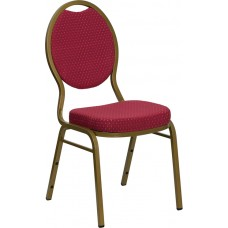 HERCULES Series Teardrop Back Stacking Banquet Chair in Burgundy Patterned Fabric - Gold Frame [FD-C04-ALLGOLD-2804-GG]