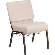 HERCULES Series 21''W Church Chair in Beige Fabric with Cup Book Rack - Gold Vein Frame [FD-CH0221-4-GV-B2-BAS-GG]