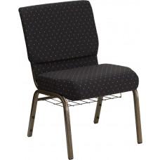 HERCULES Series 21''W Church Chair in Black Dot Fabric - Gold Vein Frame