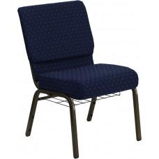 HERCULES Series 21''W Church Chair - Navy Blue Dot Fabric - Gold Vein Frame