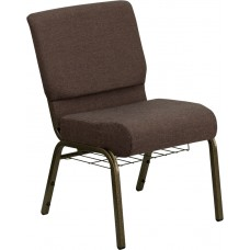 HERCULES Series 21''W Church Chair in Brown Fabric with Cup Book Rack - Gold Vein Frame