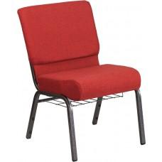 HERCULES Series 21''W Church Chair in Crimson Fabric with Cup Book Rack - Silver Vein Frame