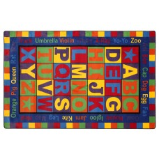 "Abc Words 5'10"" x 8' 4"" Rectangle Carpet"