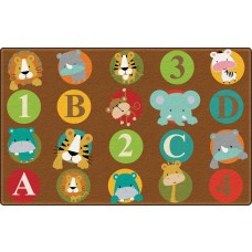 Abc And 123 Animals (Dark) (Seats 24) 7'6 x 12' Rectangle Carpet