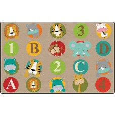 Abc And 123 Animals (Light) (Seats 20) 6'x8'4 Rectangle Carpet