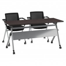 Bush Business Furniture 60W x 24D Folding Training Table with Set of 2 Folding Chairs