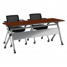 Bush Business Furniture 72W x 24D Folding Training Table with Set of 2 Folding Chairs