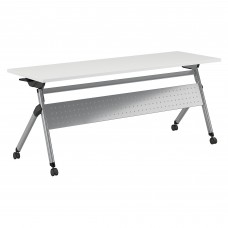 Bush Business Furniture 72W x 24D Folding Training Table with Wheels