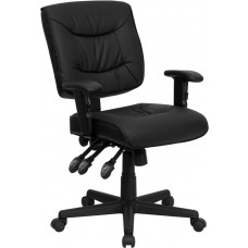 Mid-Back Black Leather Multifunction Swivel Task Chair with Adjustable Arms [GO-1574-BK-A-GG]